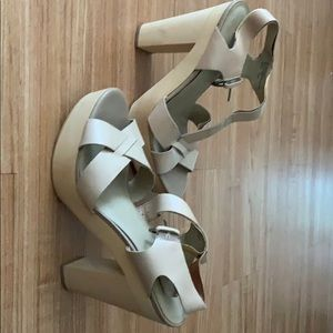 Wooden platform heels - size 10 - Levity
